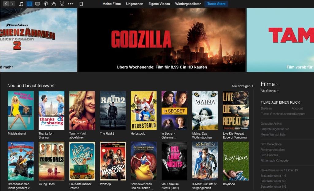 Digital Filme kaufen in iTunes