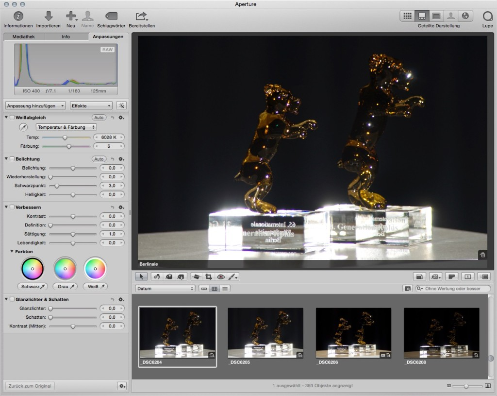 So sieht Aperture in Version 3 aus. Eine große Anzahl an Werkzeugen zur Bearbeitung von digitalen Negativen (RAW / NEF) steht hier bereit.
